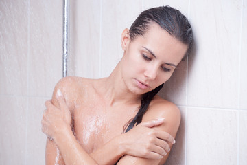 disappointed girl in shower