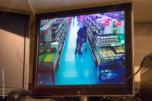 Security camera in supermarket