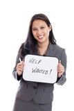 Asian businesswoman with help wanted sign