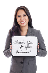 Asian businesswoman with thank you sign