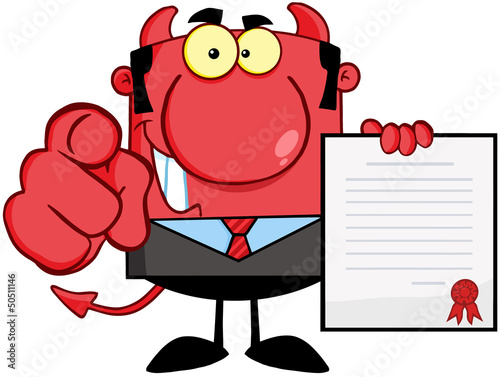 Smiling Devil Boss Holds Up A Contract And Hand Pointing Finger