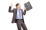 Shocked businessman gesturing fear