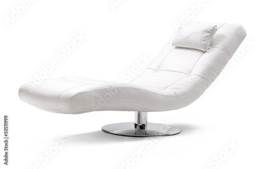 Studio shot of a comfortable white armchair in leather