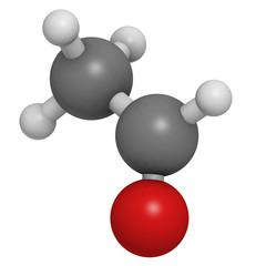 Acetaldehyde (ethanal) molecule, chemical structure.
