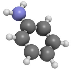 aniline (phenylamine, aminobenzene), molecular model
