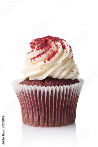 chocolate cupcake with cream isolated on white background