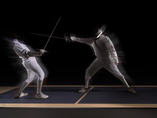 fencing players fighting
