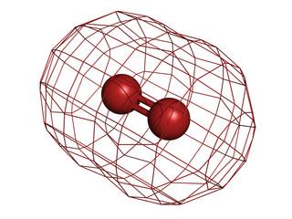 Elemental oxygen (O2), molecular model.