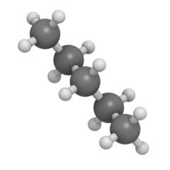 Pentane hydrocarbon, molecular model