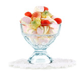 Gentle marshmallow in glass vase isolated on white