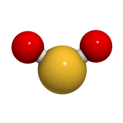 Sulfur dioxide (sulphur dioxide, SO2) gas, molecular model.