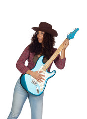 Attractive girl with electric guitar playing country music