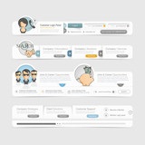 Website template design menu navigation elements with icons set.