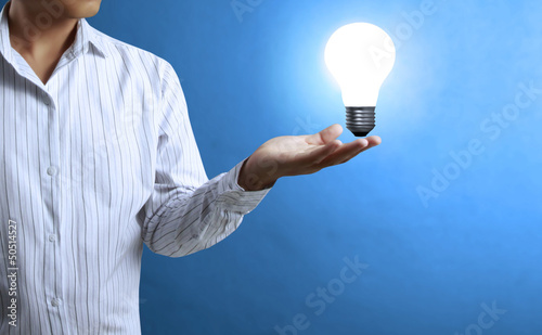 Light bulb, in a hand