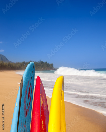 Surfboards at Lumahai beach Kauai