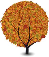 Stilisierter Ahornbaum im Herbst