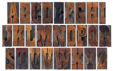 antique wood type alphabet