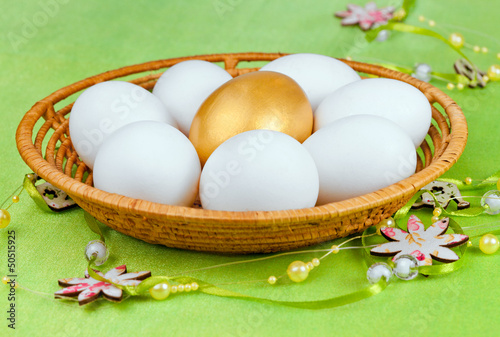 White and one golden  Eggs