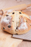 Homemade round bread with raisins