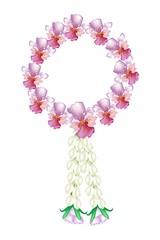 A Fresh Pink Colors of Vanda Orchid Garland