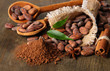 Cocoa beans in spoons, cocoa powder and spices