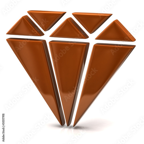3d illustration of orange diamond icon