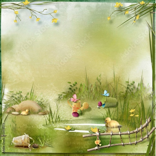 Easter collage with space for text, eggs and ducklings in nature