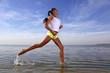 beauty girl run on beach