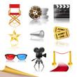 set of detailed cinema icons