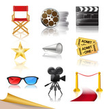 set of detailed cinema icons