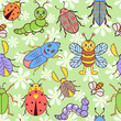 seamless pattern with cute colorful insects