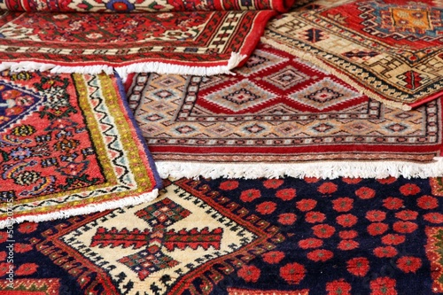 textures and background of ancient handmade carpets and rugs