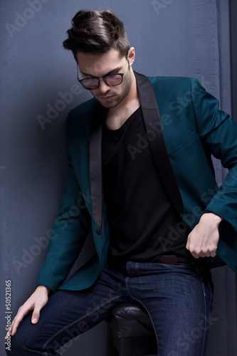 sexy fashion male model dressed elegant - casual posing