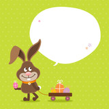Bunny Handcart Eggs Speech Bubble Green