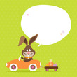 Bunny Car Speech Bubble Green