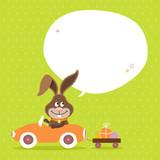 Bunny Car Speech Bubble Green