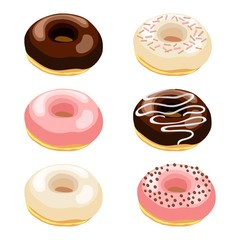 Vector illustration set of donuts with various toppings