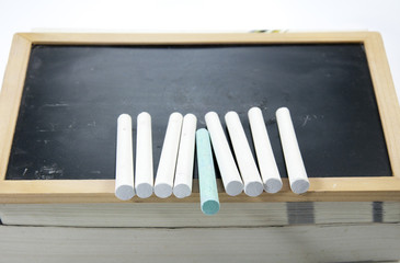 chalk and blackboard