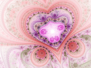 Lacy valentine's day motive, fractal heart, digital art