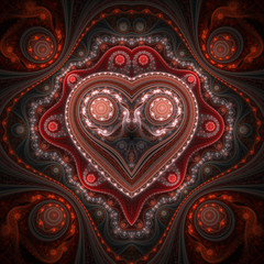 Clockwork valentine's day motive, fractal heart, digital art