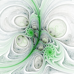 Green stream with bubbles and spiral pattern