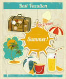 Summer Vacation Card in Vintage Retro Style
