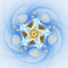 Blue and gold star shaped ornament, digital fractal art
