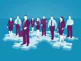 Geschäftsleute auf Puzzle-Teilchen - Business Netzwerk