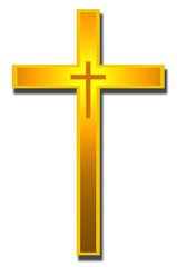 Catholic Golden cross, Christian Symbol.
