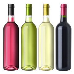 A set of four different wines