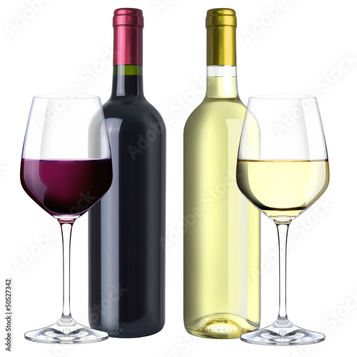 A set of white and red wine