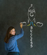 Business woman and chalk success rocket