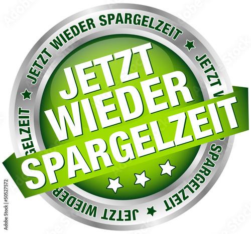 """Button Banner """"Endlich wieder Spargelsaison"""" grün/silber"""