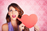 Beautiful Brunette Woman Shouting Out Love Message